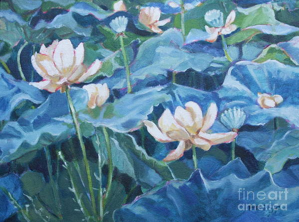 Water Lilies Art Print featuring the painting Water Lilies Two by Jan Bennicoff