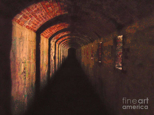 Tunnel Art Print featuring the photograph Went Deeper Into Black by K Hines