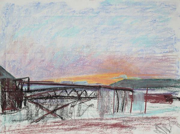 Industrial Landscape; Urban Landscape; Industrial Skyline; West Oakland Skyline; Asha Carolyn Young Landscape; Sketch Art Print featuring the painting West Oakland Skyline At Sunset by Asha Carolyn Young