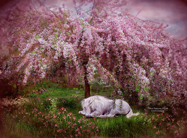 Unicorn Art Print featuring the mixed media Where Unicorn's Dream by Carol Cavalaris