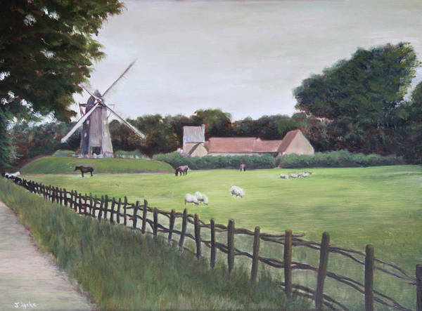 Farm Art Print featuring the painting Windmill On Farm by Jennifer Lycke