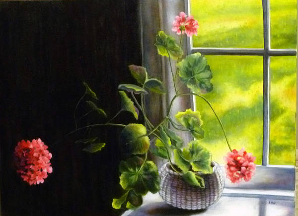 Flower Art Print featuring the painting Window Geranium by Alexandra Kopp