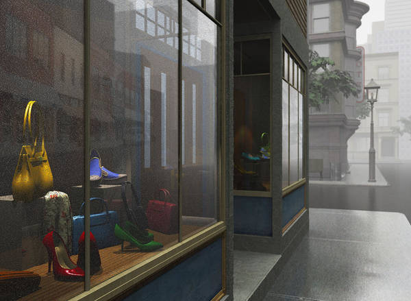 Gray Art Print featuring the digital art Window Shopping by Cynthia Decker
