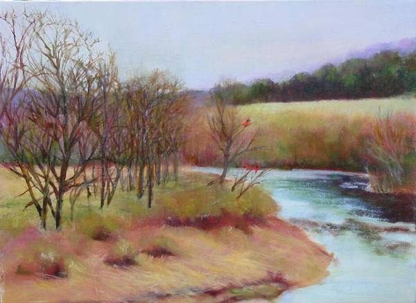 Landscape Art Print featuring the painting Winter Creek         Copyrighted by Kathleen Hoekstra