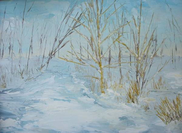 Landscape Art Print featuring the painting Winter Scene by Dwayne Gresham