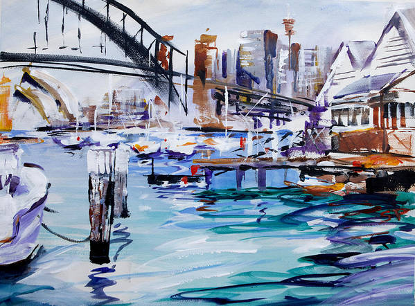 Sydney Art Print featuring the painting Work And Play by Shirley Peters