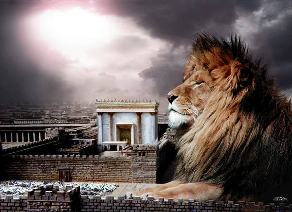 Lions Art Print featuring the digital art Yeshua In The Outer Court by Bill Stephens
