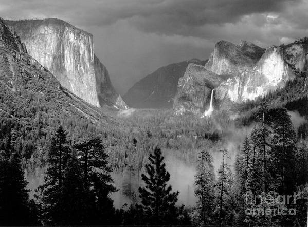 Art print featuring the photograph yosemite valley thunderstorm 1949 by ansel adams