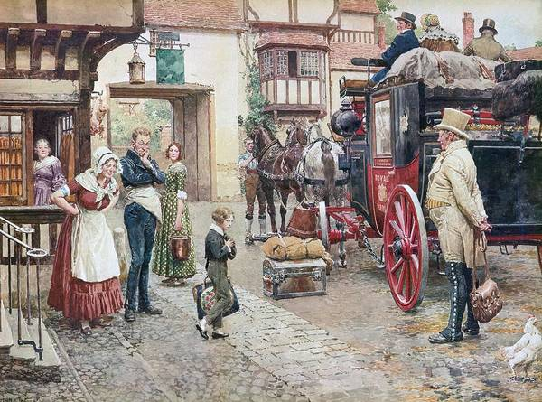 David Copperfield; Goes To School; Charles Dickens; Inn;coach; Salem House; Inn; Lunch; Waiter; Lamb Chops; Beer; Royal Mail; Carriage; Boy Art Print featuring the painting David Copperfield Goes To School by Fortunino Matania