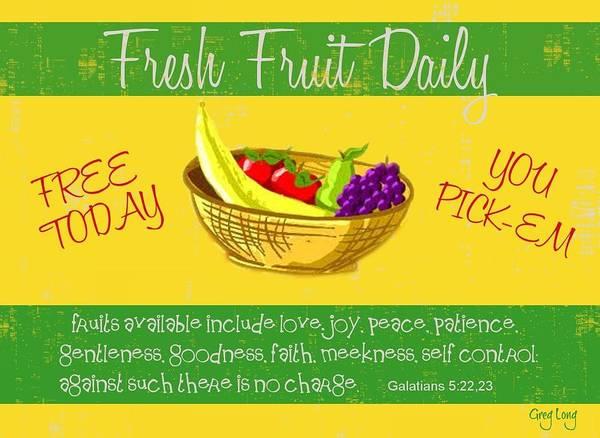 Bible Art Prints Art Print featuring the digital art Free Fruit by Greg Long