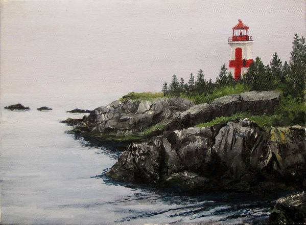 Ocean Print featuring the painting Head Harbour Lighthouse by Jack Skinner