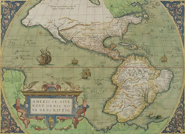 Maps Art Print featuring the drawing Map Of North And South America by Abraham Ortelius