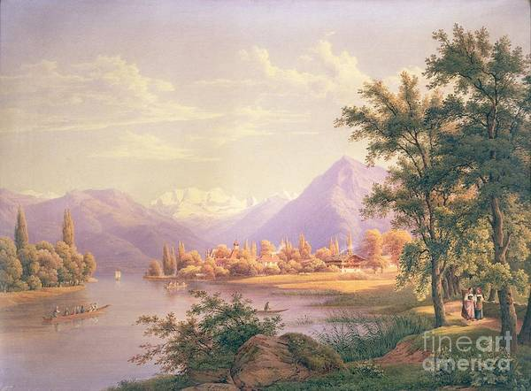 Swiss Landscape; Thunersee; Alps; Mountains; Alpine Art Print featuring the painting A View Of Scherzingen On The Lake Of Thun by Jakob Suter