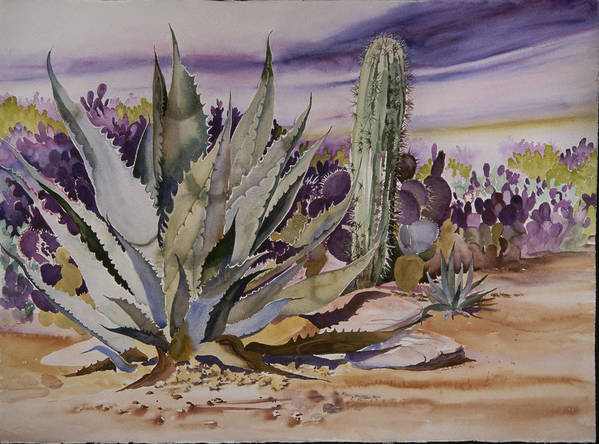Agave Art Print featuring the painting Agave And Purple Opuntia by Jean Beck
