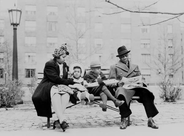History Art Print featuring the photograph An African American Family On A Park by Everett