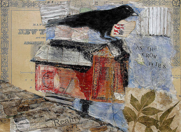 Crow Art Print featuring the mixed media As The Crow Flies by Regina Thomas