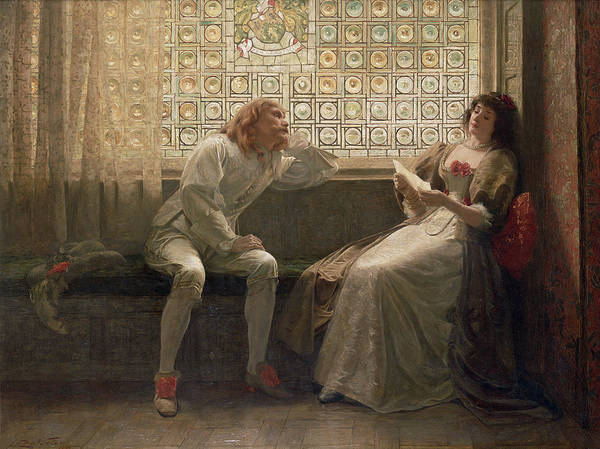 Male; Female; Lovers; Love Letter; Interior; Window Seat; Stained Glass; Lovestruck; Romantic Comedy; Curtain; Shoes; Costume; Corsage; Wistful Art Print featuring the painting 'as You Like It' by Charles C Seton