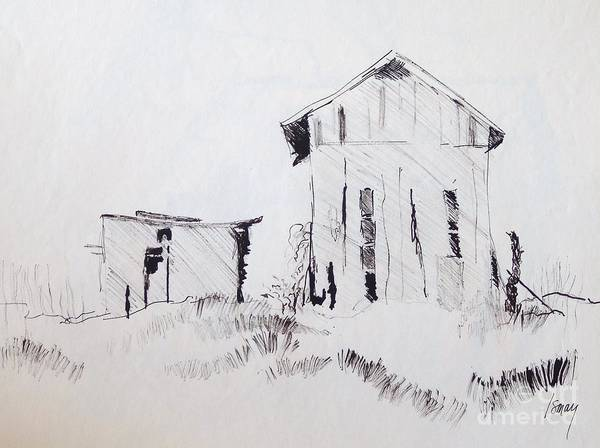 Barn Art Print featuring the drawing Barn And Shed by Rod Ismay