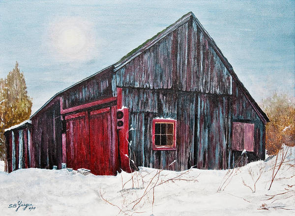 Art Print featuring the painting Barn In Snow Southbury Ct by Stuart B Yaeger