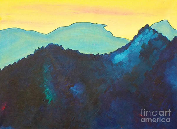 Landscape Art Print featuring the painting Blue Mountain by Silvie Kendall