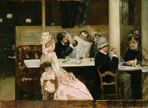 Cafe Art Print featuring the painting Cafe Scene In Paris by Henri Gervex