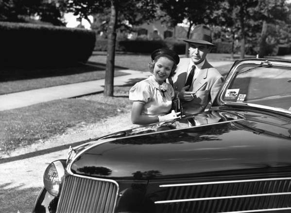 30-34 Years Print featuring the photograph Couple Posing At Open Top Car, (b&w), Portrait by George Marks