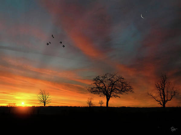Endre Art Print featuring the photograph Created Sunset by Endre Balogh