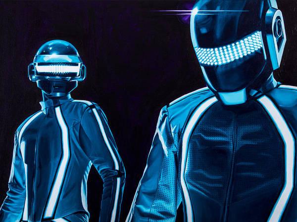 Tron Art Print featuring the painting Daft Punk by Ellen Patton