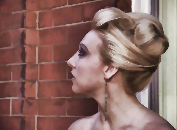 Woman Lady Beauty Classic Portrait Updo Blonde Art Print featuring the photograph Dangling Earring by Alice Gipson