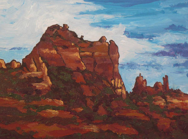 Sedona Art Print featuring the painting Elephant Rock by Sandy Tracey