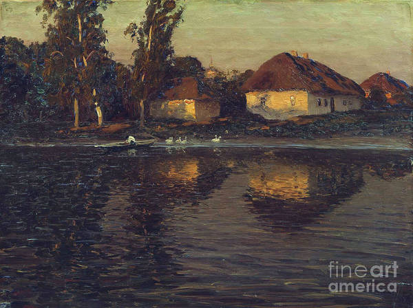 Pd Art Print featuring the painting Evening In Ukraine by Pg Reproductions