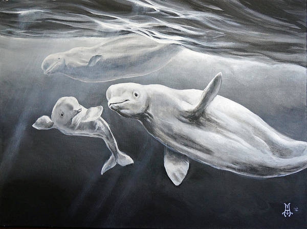 Beluga Art Print featuring the painting Family Ties by Marco Antonio Aguilar