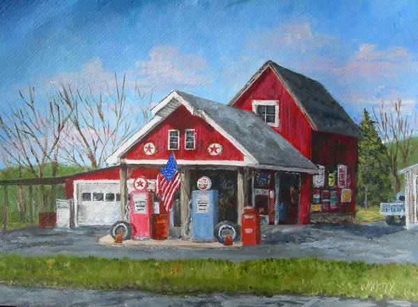 Springtown Art Print featuring the painting Fill 'er Up by Margie Perry