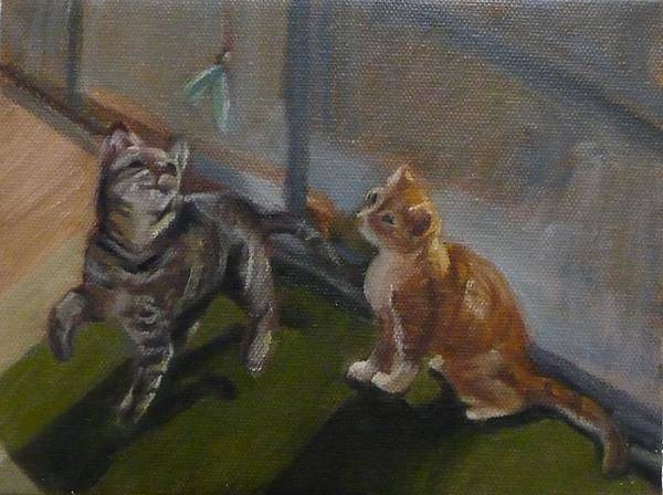 Tabby Cats Art Print featuring the painting Frankie And Fiona Chasing The Green Faery by Jessmyne Stephenson