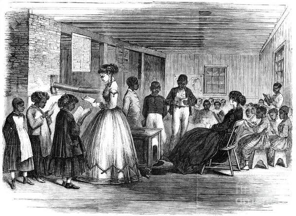 1866 Art Print featuring the photograph Freedmen School, 1866 by Granger
