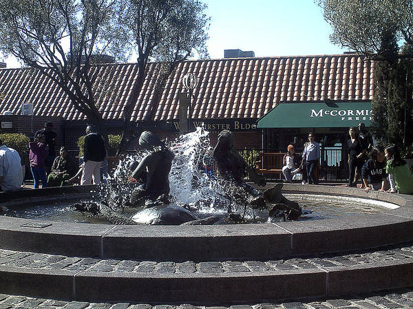 Urban Landscape Art Print featuring the photograph Ghiradelli Square Mermaid Fountain by Vanessa Beck