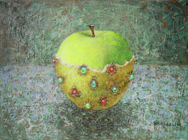 Apple Art Print featuring the painting Golden Dress For The Apple by Lolita Bronzini