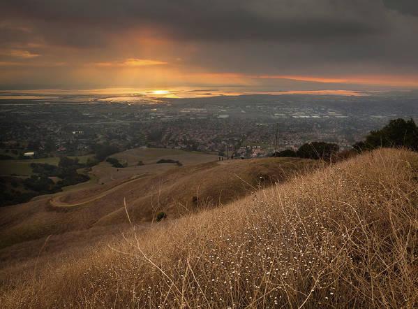 Horizontal Art Print featuring the photograph Golden Sunset Over San Francisco Bay by Sean Duan