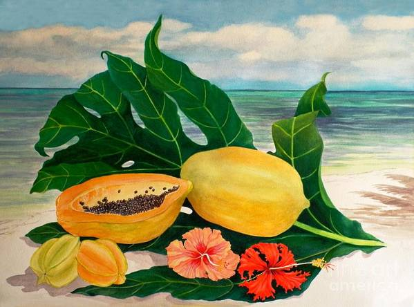 Indian Ocean Art Print featuring the painting Grand Anse Still Life by Janet Summers-Tembeli