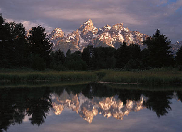 00173316 Print featuring the photograph Grand Teton Range And Cloudy Sky by Tim Fitzharris