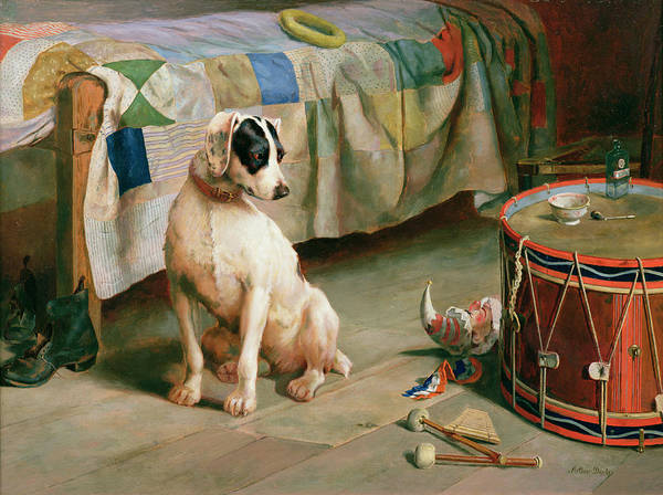 Dog; Collar; Drum; Medicine; Punch; Bedspread; Pipe; Terrier Art Print featuring the painting Hide And Seek by Arthur Charles Dodd