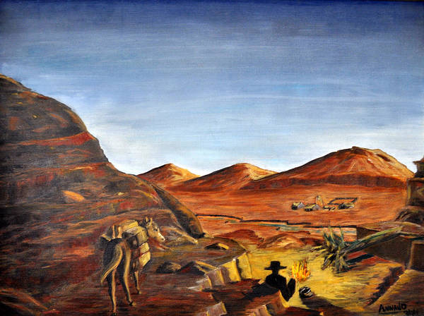 Desert Art Print featuring the painting Jackass Flats by AnnaJo Vahle
