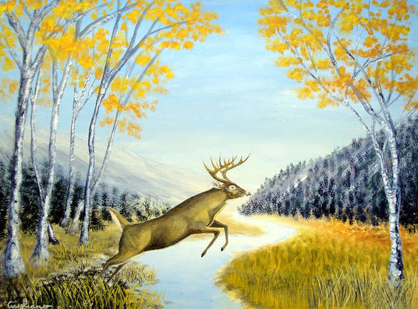 Nature Art Art Print featuring the painting Leap Of Faith by Larry Cirigliano