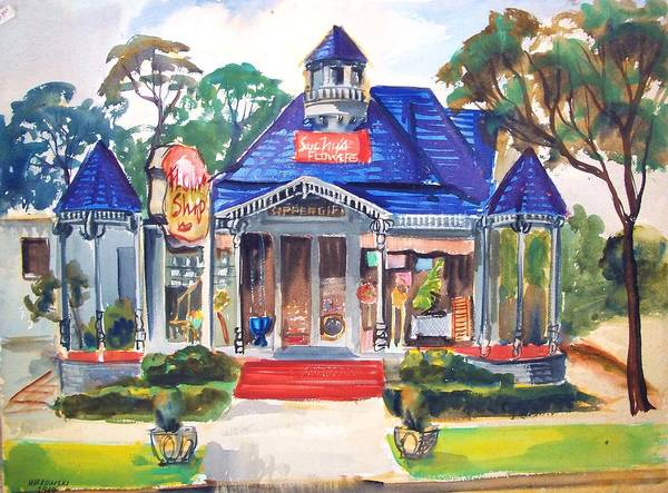 Towns Print featuring the painting Little Town Flower Shop by Bill Joseph Markowski