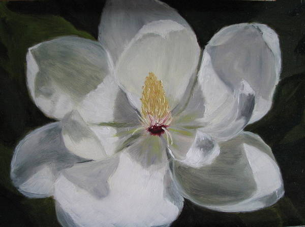 Magnolia Art Print featuring the painting Magnolia by Iris Nazario Dziadul