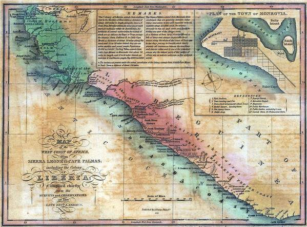 History Art Print featuring the photograph Map Of The West Coast Of Africa by Everett