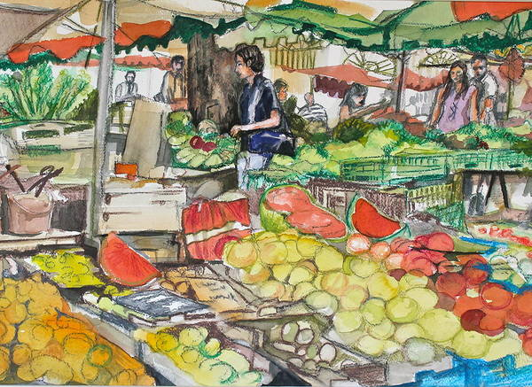 Market Art Print featuring the painting Market At Aix En Provence by Laurel Fredericks