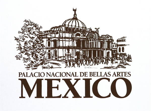 Mexico City - Palace Of Fine Arts - Art Print featuring the drawing Architecture. Mexico City - Palace Of Fine Art by Robert Birkenes