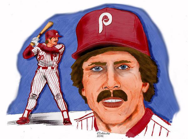 Phillies Art Print featuring the drawing Mike Schmidt-color by Chris DelVecchio