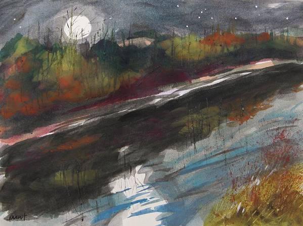 Moon Art Print featuring the painting Moon From Washington Crossing Pa Bridge by John Williams